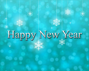 happy new year on turquoise bokeh vector