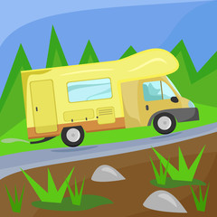 Illustration of a camper on the road in the woods