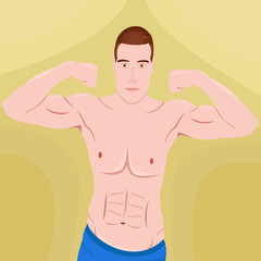 Illustration of a young man showing his muscles