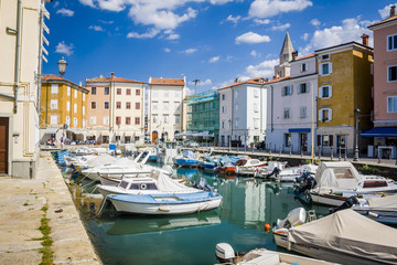 amazing view on a city center of Muggia