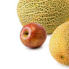Isolated image of apples and melons