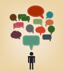 human and text balloon Vector speech bubble icons on vintage st