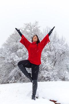 Fun Yoga in the Snow