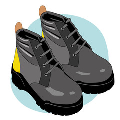 Illustration an insulating leather boot safety equipment