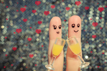 Finger art of a Happy couple. Couple making good cheer.