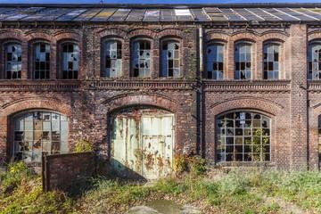 Autocollant pour porte Les vieux bâtiments abandonnés Destroyed, the historic factory hall