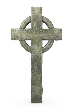 old stone cross isolated on white
