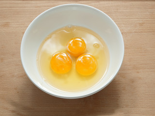 cracked fresh eggs in a bowl