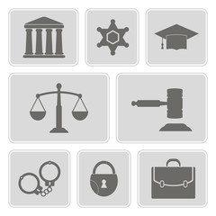 set of monochrome icons with symbols of law and courts