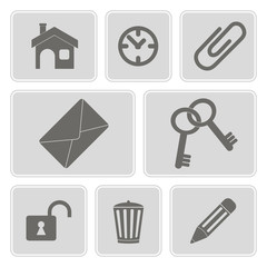 set of monochrome icons with symbols of work in the office
