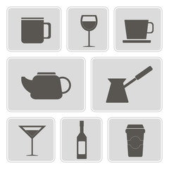 set of monochrome icons with containers for drinks