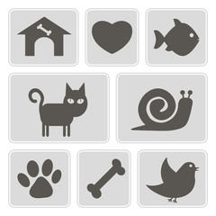 set of monochrome icons with pets for your design