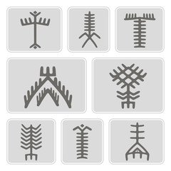 set of monochrome icons with Touareg tattoo symbols