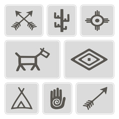 set of monochrome icons with native american symbols