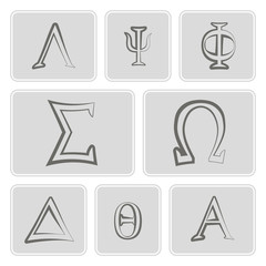 set of monochrome icons with letters of the Greek alphabet