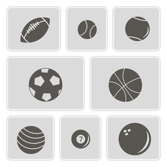 set of monochrome icons with sports balls for your design