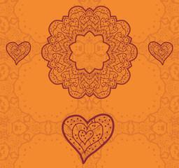 Valentine card design. Ornamental orange vector flyer.