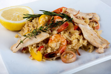 Close-up of Paella - spanish dish with sea food