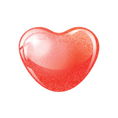 Heart red shape on white background.
