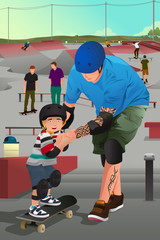 Father teaching his son skateboarding