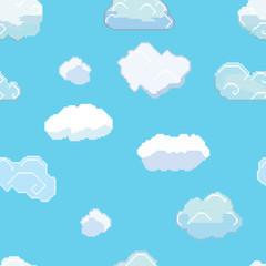Vector Pixel Art Clouds Seamless Pattern