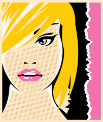 Pop Art female face vector