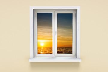 Sunset landscape in the window