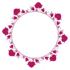 Ornamental flowers frame with heart. CIRCLE