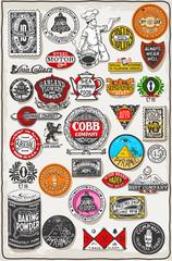 Vintage Logo California Label Plaque, Black and Gold Vector Thirty Three Logos Set
