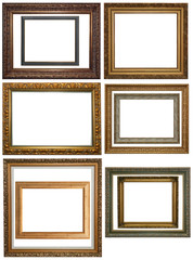 Set of Vintage gold picture frame, isolated with clipping path