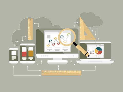 Flat design website analytics vector illustration