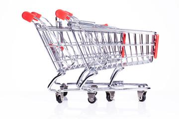 empty shopping carts isolated on white