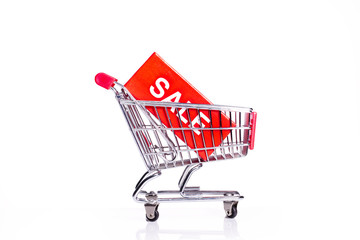 shopping cart with sale sign