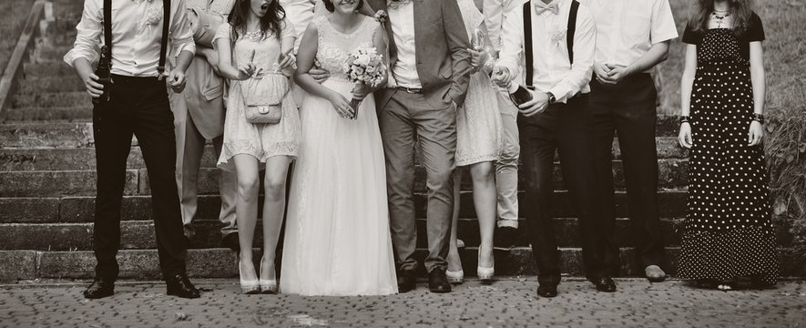 bride and groom with guests