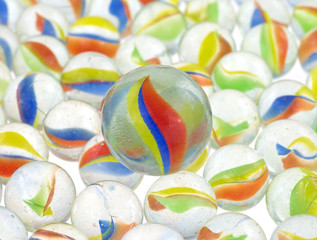 Group of marbles with one big one in the center