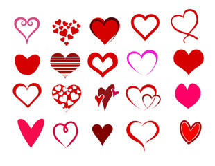 Heart shapes set vector