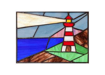 Handmade stained glass with lighthouse
