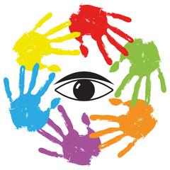 Conceptual human hand print with an eye symbol