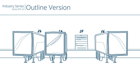 Vector illustration of Loading Dock, Outline Series.