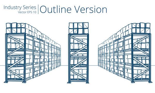 Vector illustration of Warehouse Shelves, Outline Series.