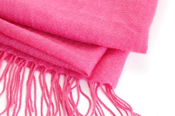 Pink silk scarf on a white background