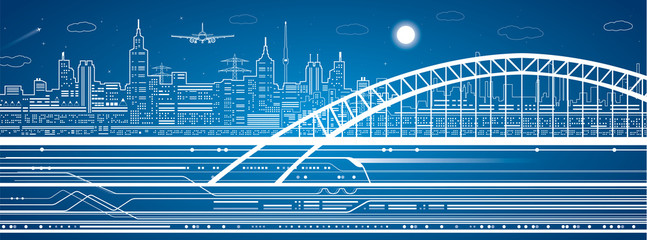 Train on bridge, background city, airplane fly, infrastructure