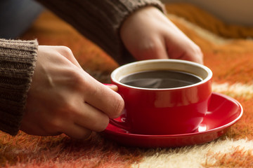Cup of coffee or tea in female hands