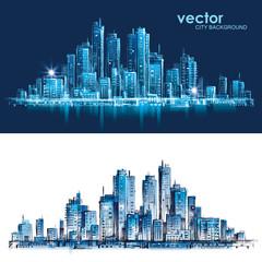 Cityscape. Hand drawn vector