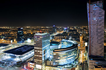 Obraz View of the center of Warsaw at night - fototapety do salonu
