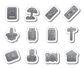 Travel, Holiday and Trip Icons -  Vector Icon Set