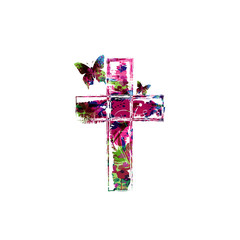 Colorful vector cross design with butterflies