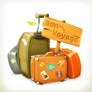 Bon voyage, travel icon, vector illustration