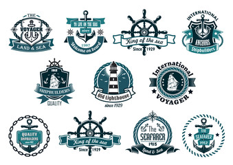 Dark blue nautical labels