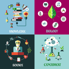 Science, medicine, biology and knowledge flat concepts